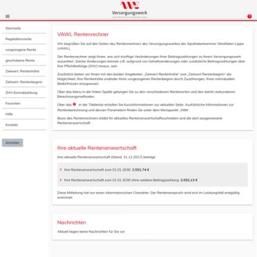 Benutzerfreundliche Startseite des Online-Rentenrechners vivir-on