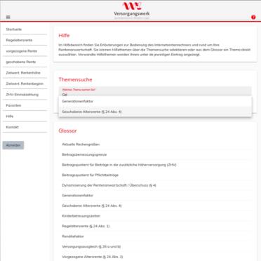 Der Online-Rentenrechner ist mit einem Glossar für Fachbegriffe sowie umfangreichen Hilfetexten ausgestattet.